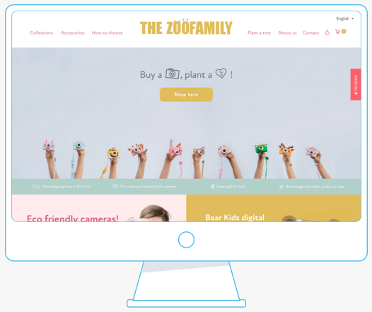 Mockup of a desktop computer showing the banner inserted in a website